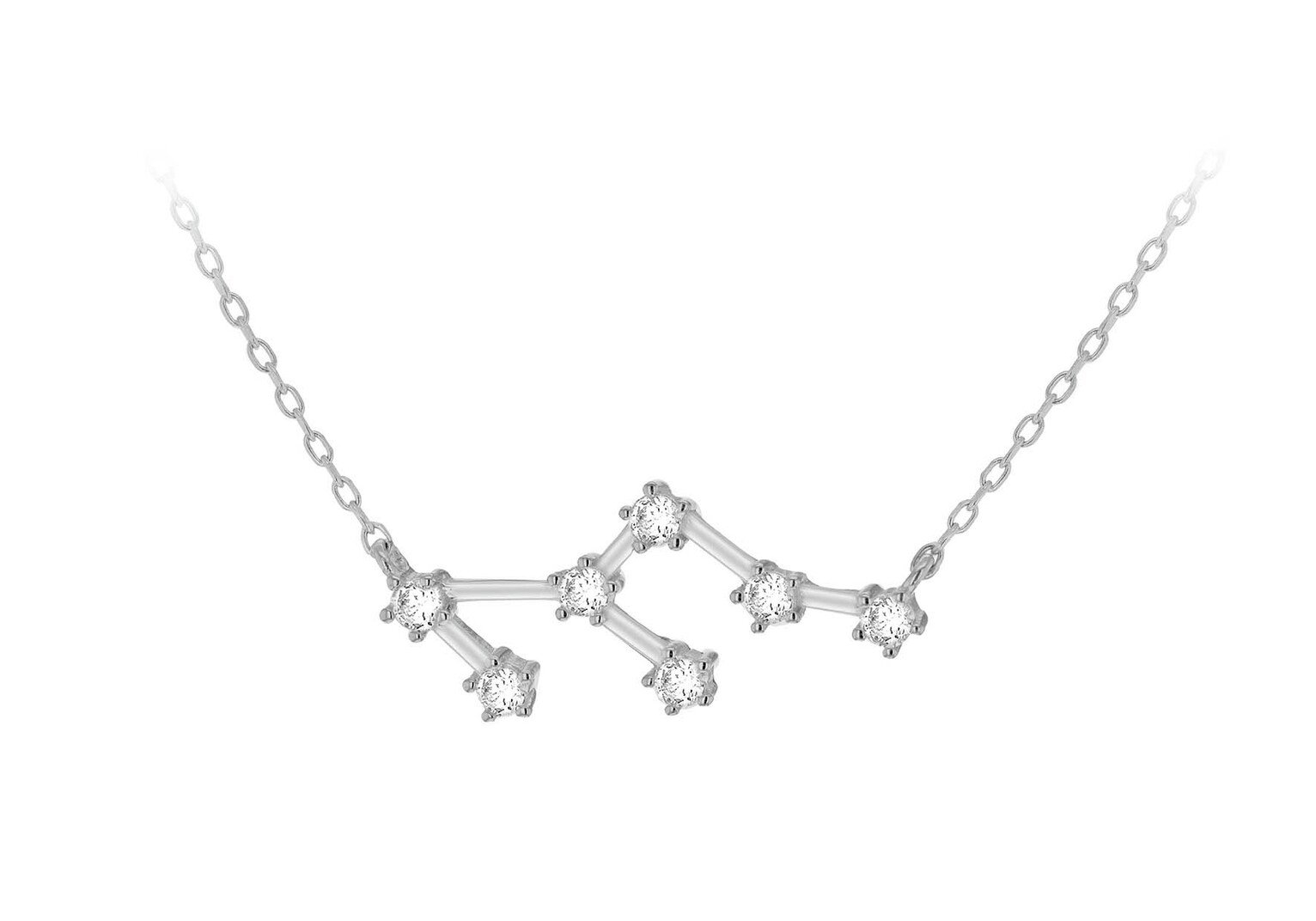 Sterling Silver Star Sign Pendant Necklace - Leo