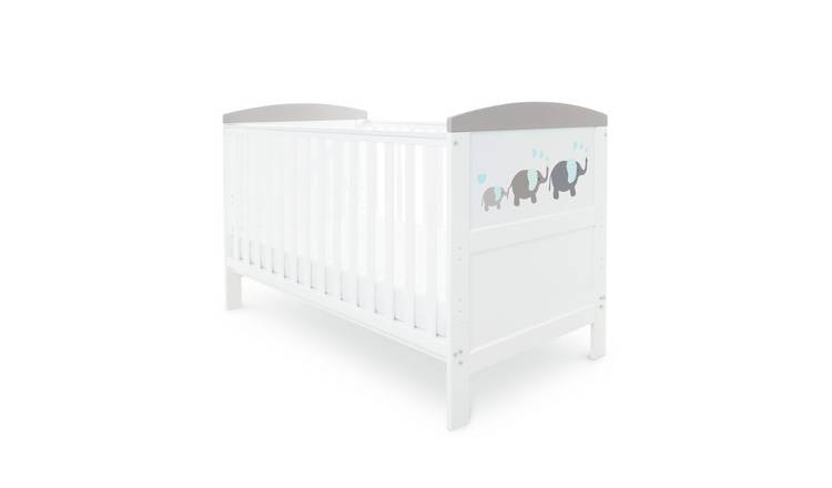 Ickle Bubba Coleby Style Cot Bed - Love Elephant Grey