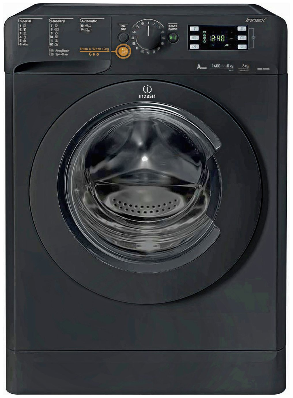 Indesit XWDE751480XK 7KG/5KG 1400 Spin Washer Dryer - Black