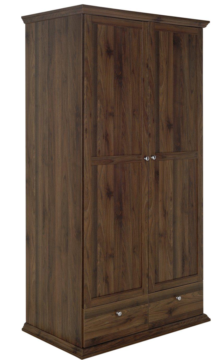 sale on home canterbury 2 door 2 drawer wardrobe walnut. Black Bedroom Furniture Sets. Home Design Ideas