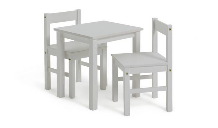 Argos Home Scandinavia Solid Wood Kids Table & Chairs -White