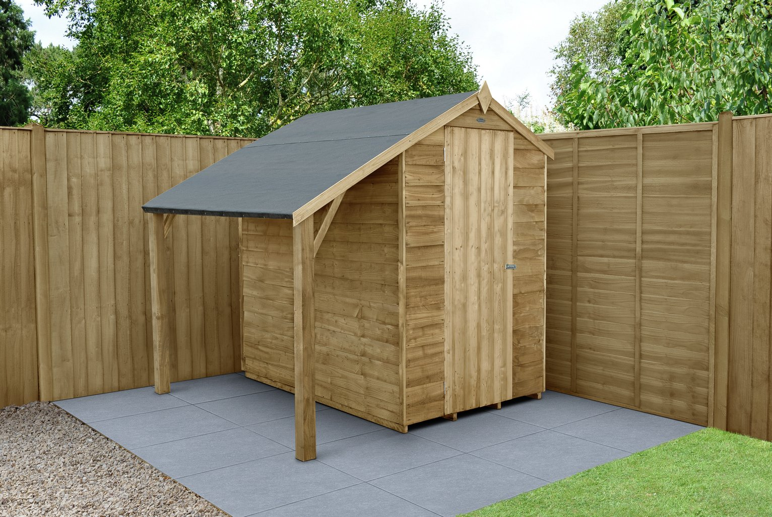 Forest Overlap Apex 4 x 6ft Shed with Lean to