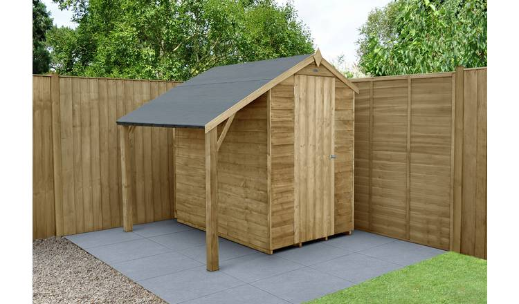 Buy Forest Wooden 6 x 4ft Overlap Apex Shed with Lean To | Sheds | Argos