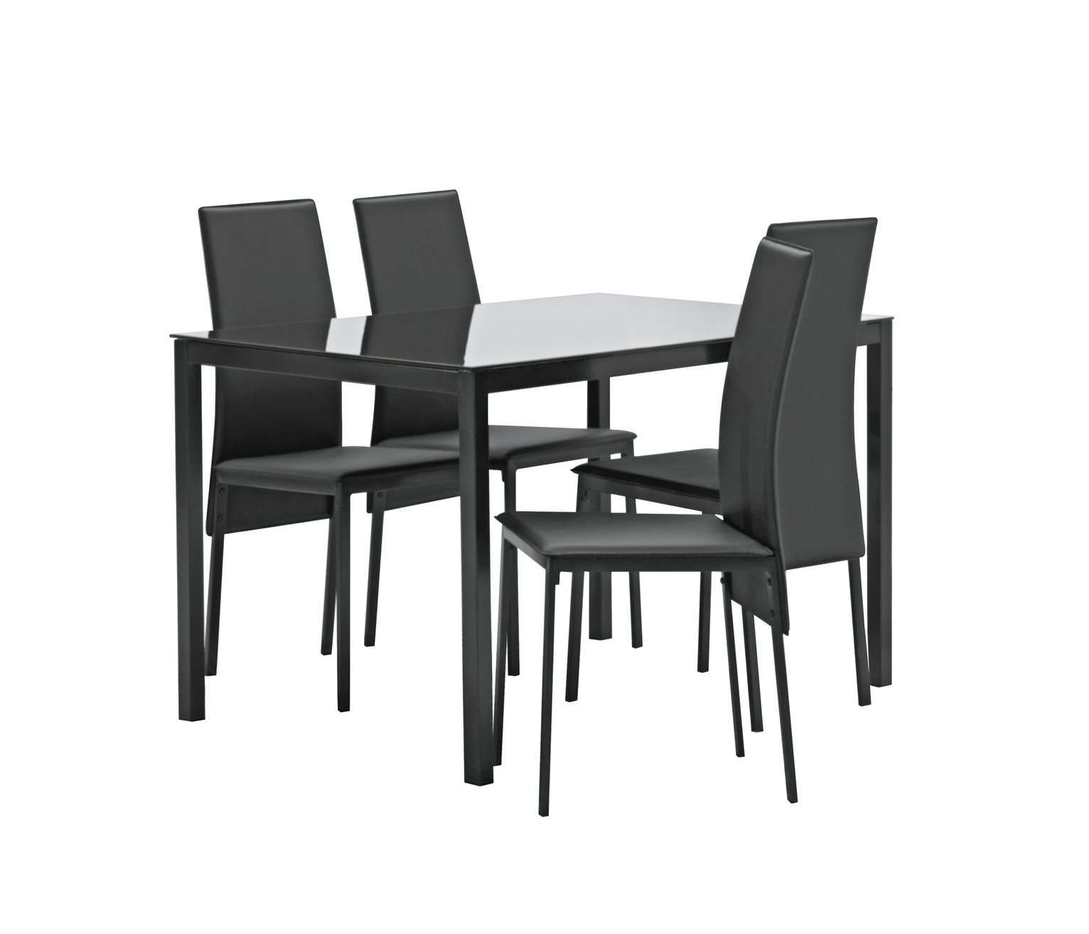 Argos Home Lido Glass Dining Table & 4 Black Chairs