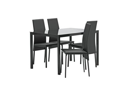Hygena Lido Glass Dining Table and 4 Chairs - Black.