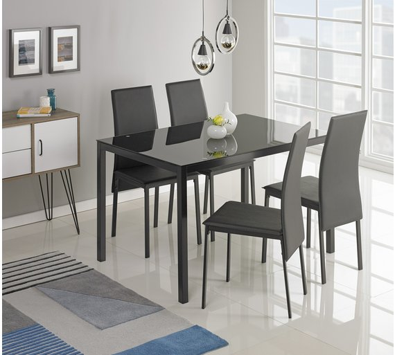 Buy Hygena Lido Glass Dining Table 4 Chairs