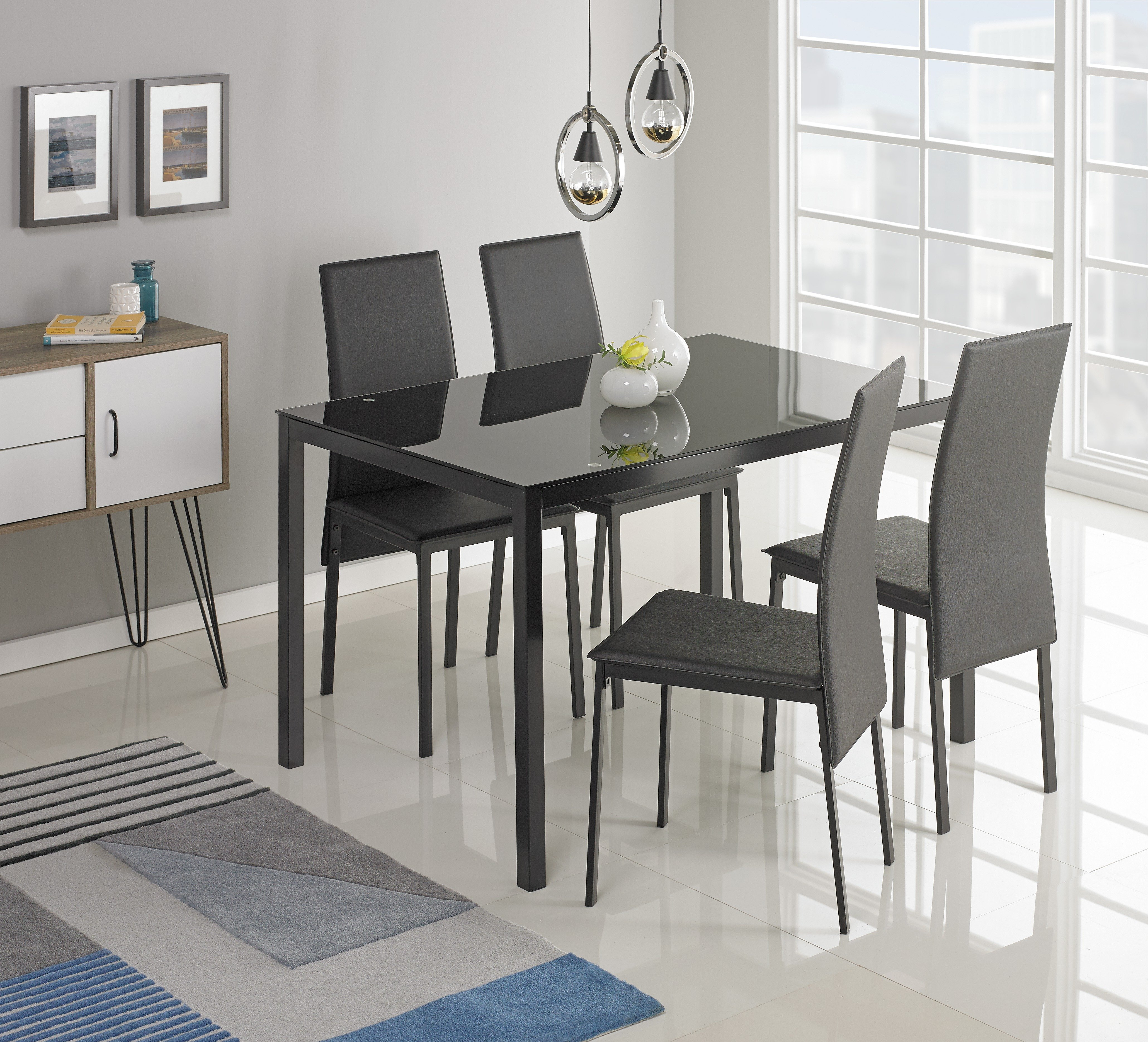 Glass Dining Table buy hygena lido glass dining table & 4 chairs - black at argos.co