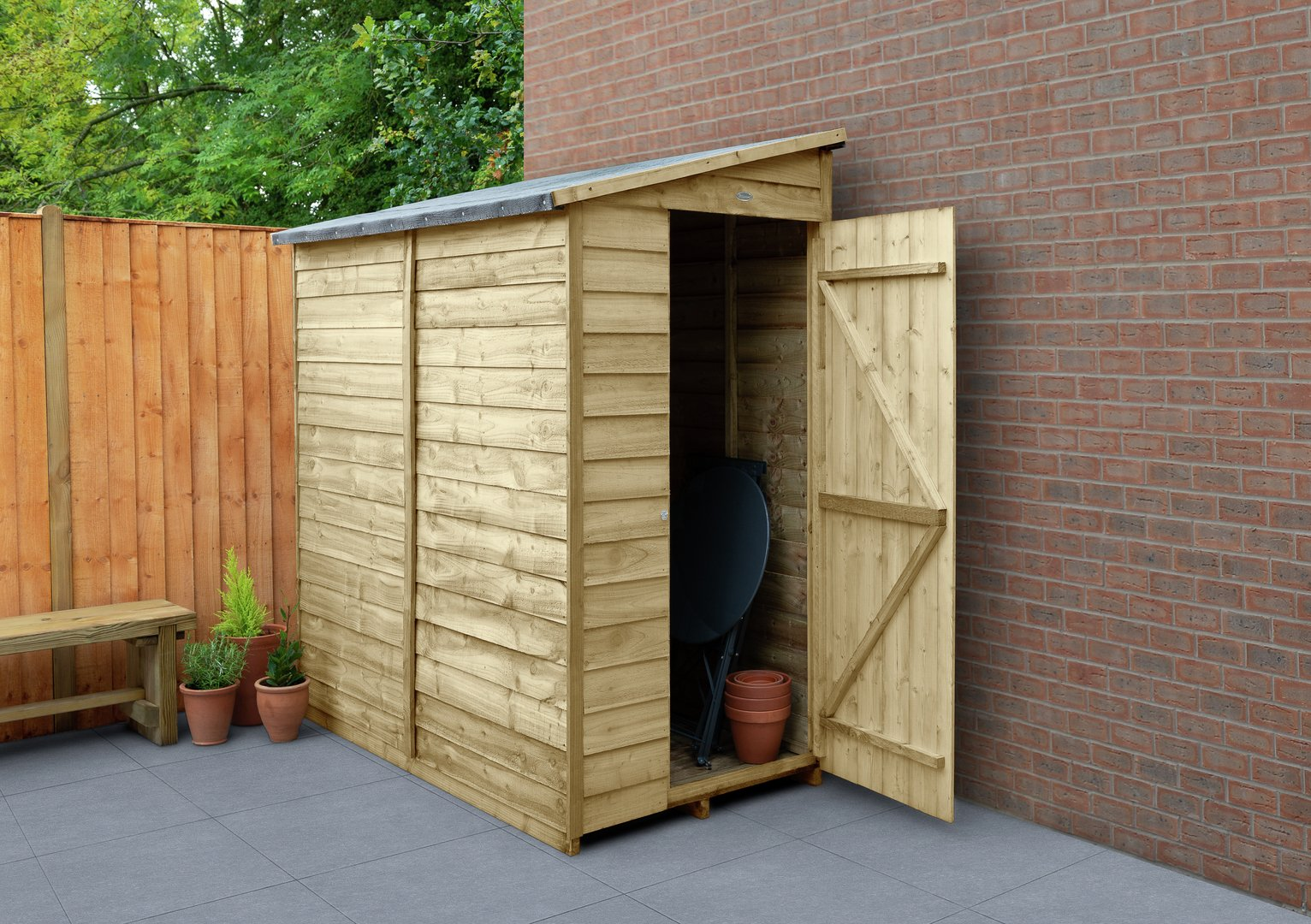 Forest Wooden 6 x 3ft Overlap Pent Shed
