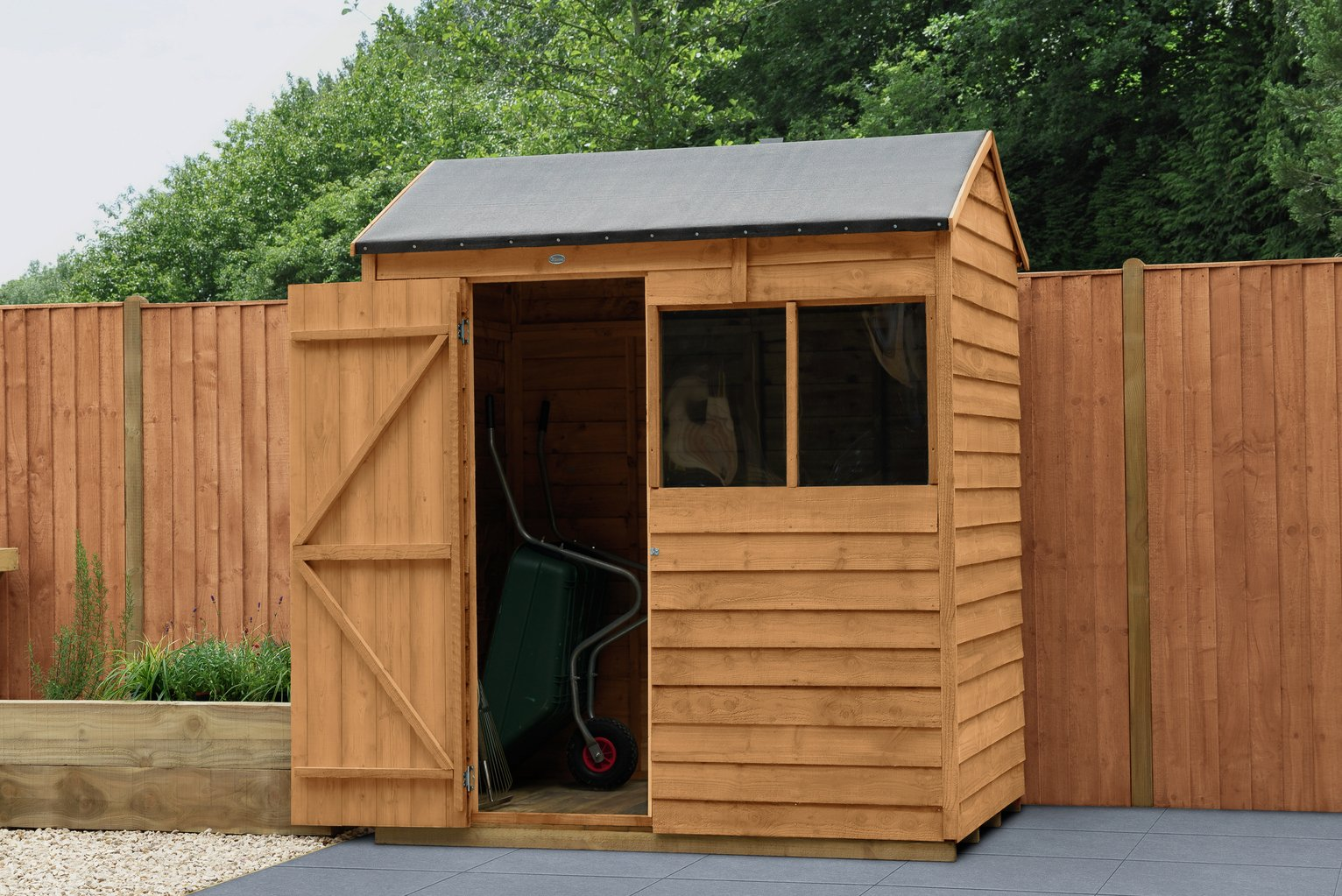Forest Wooden 6 x 4ft Overlap Reverse Apex Shed