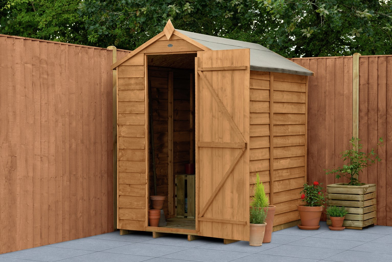 Forest Wooden 6 x 4ft Overlap Windowless Apex Shed