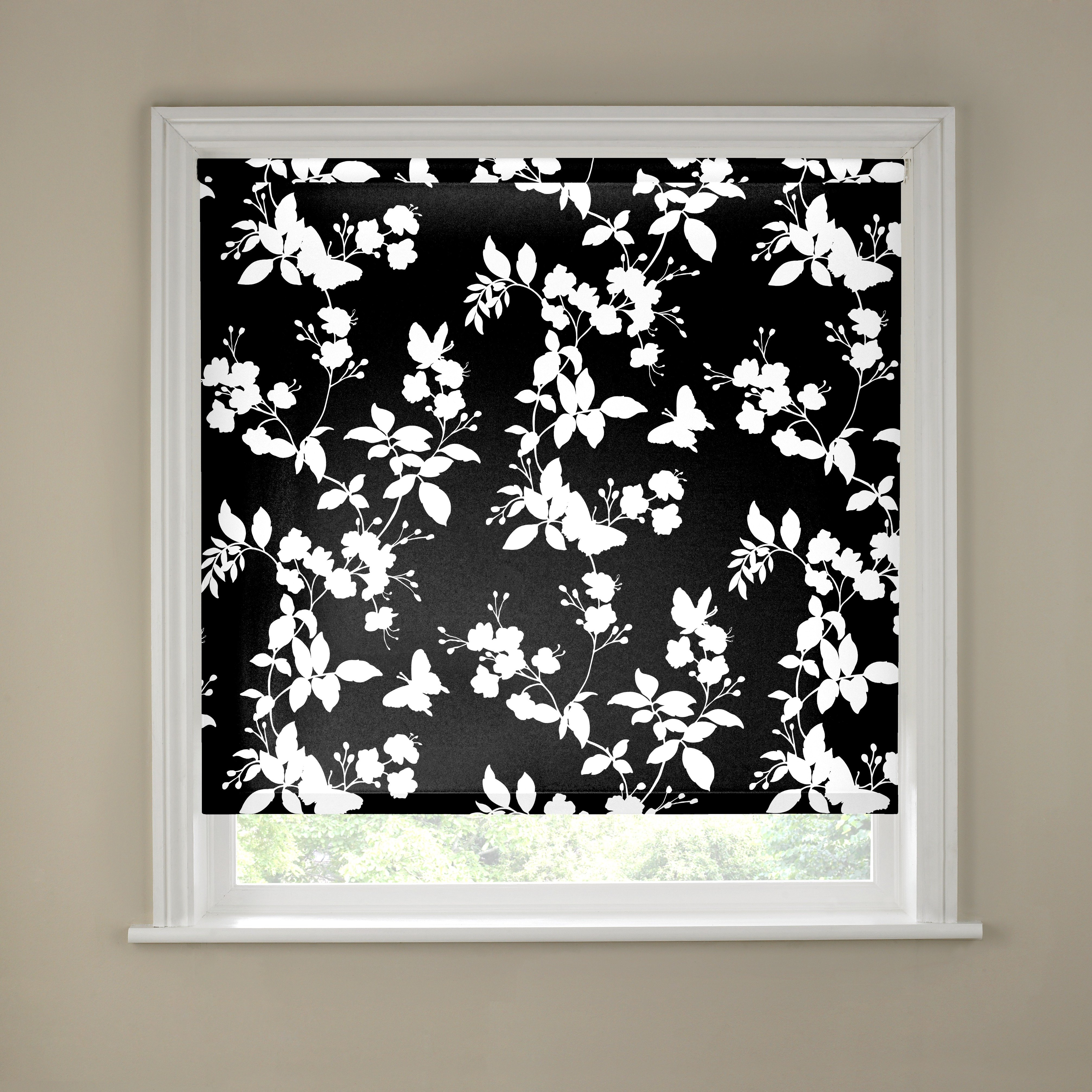 2ft Butterfly Blossom Black and White Roller Blind.