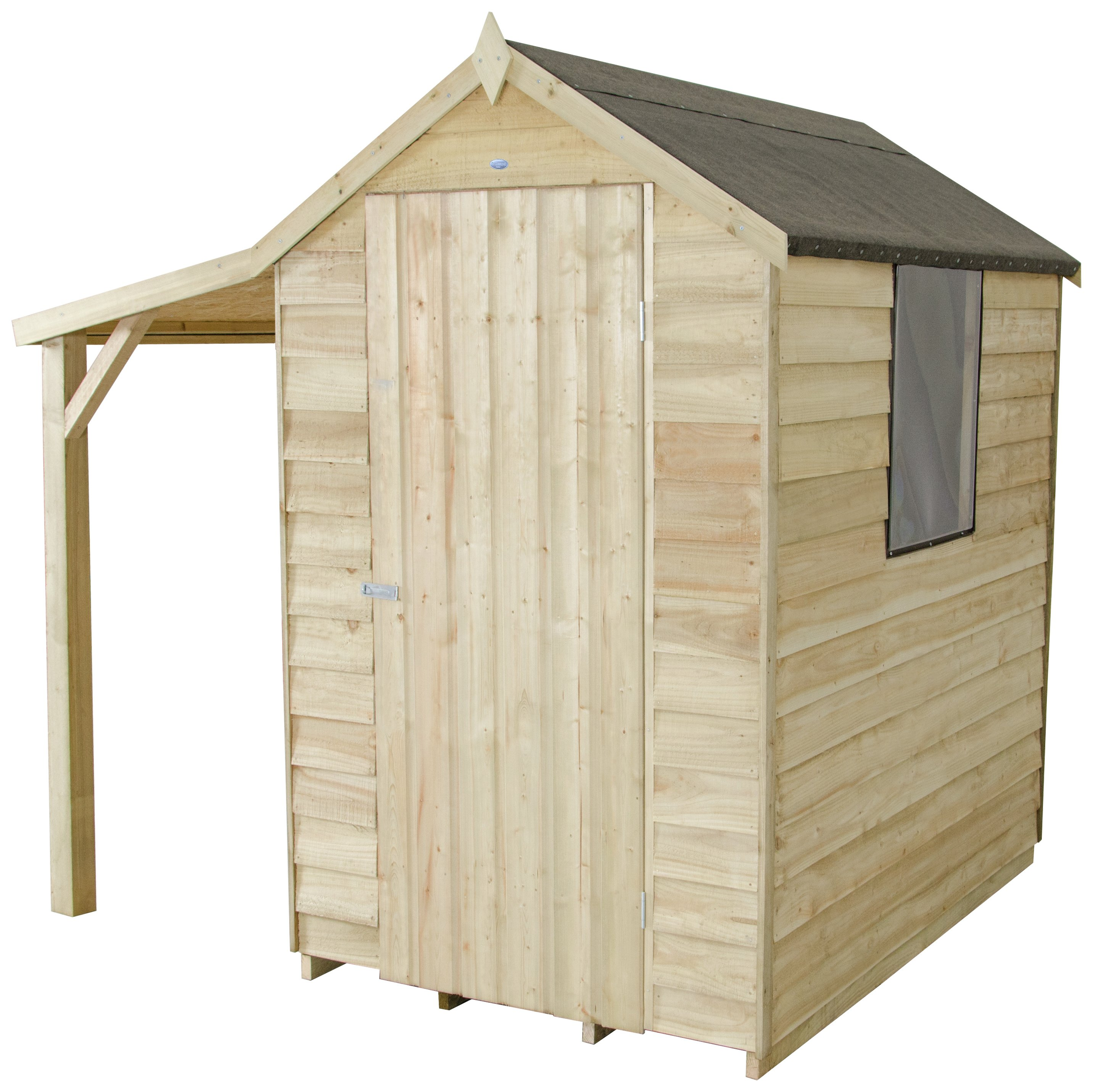 Forest Overlap Wooden Shed with Lean-to & Inst - 4 x 6ft