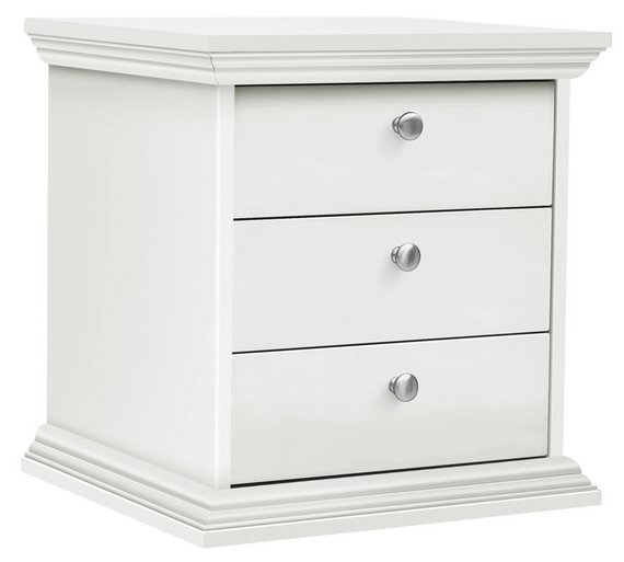 buy home canterbury 3 drawer bedside chest white at. Black Bedroom Furniture Sets. Home Design Ideas