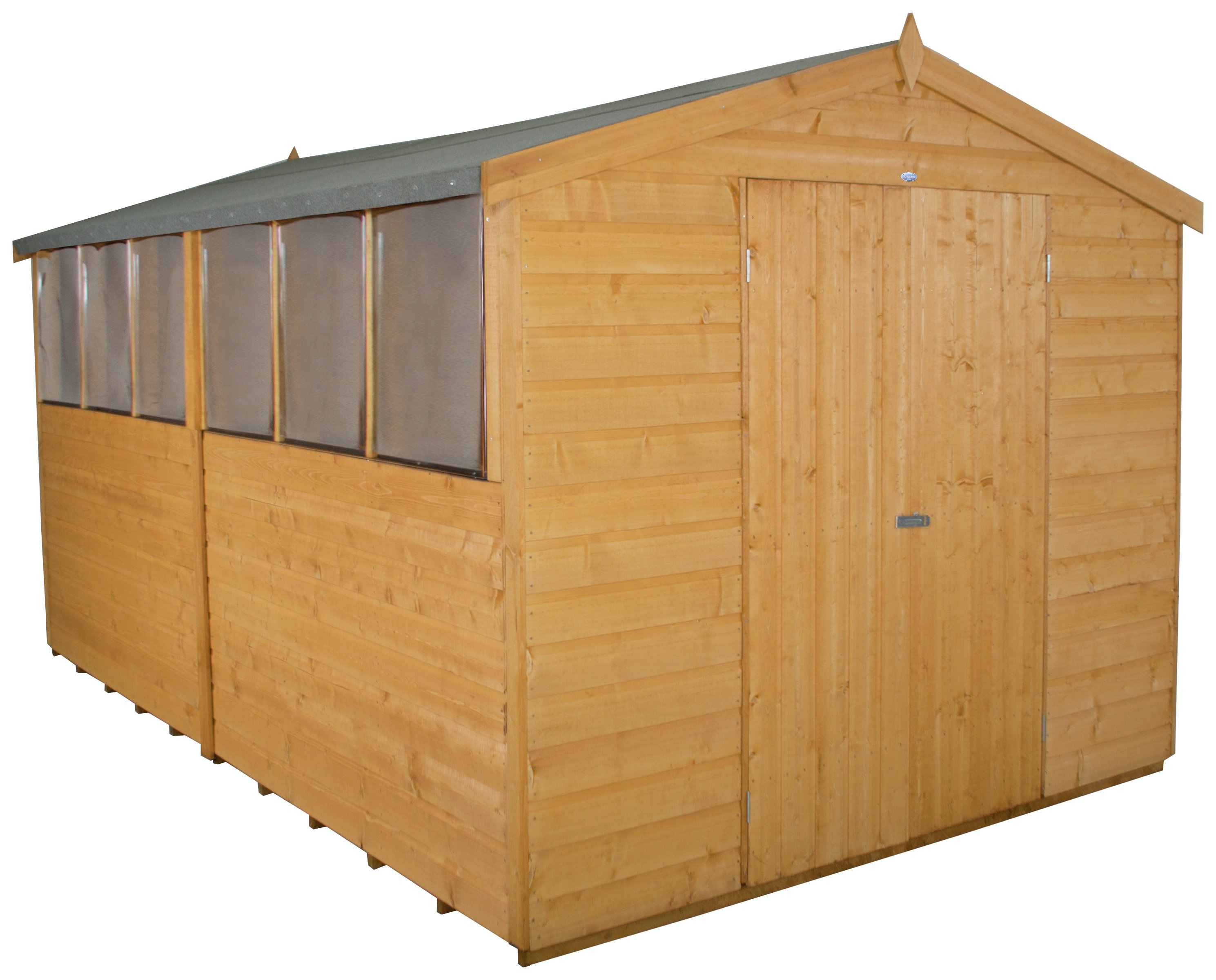 Forest Wooden 12 x 8ft Shiplap Double Door Apex Shed