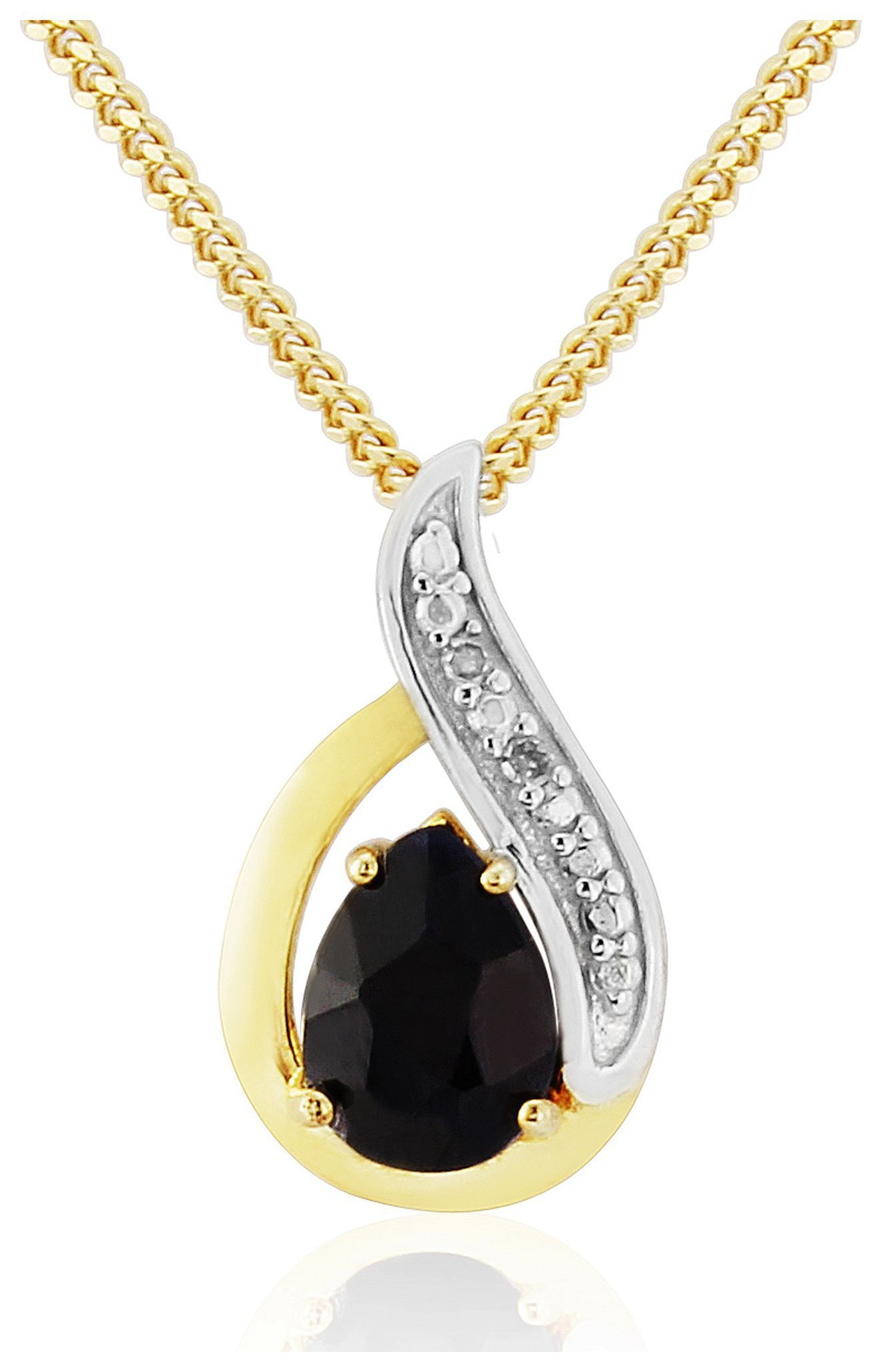 9 Carat Gold - Plated - Sterling Silver - Sapphire/Diamond Set Pendant