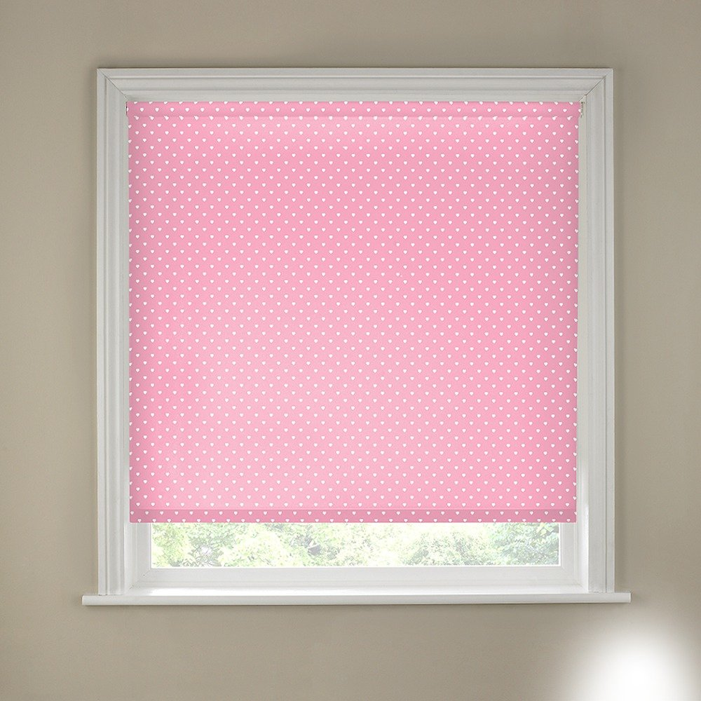Argos - Pink Hearts 6ft - Blackout - Roller Blind