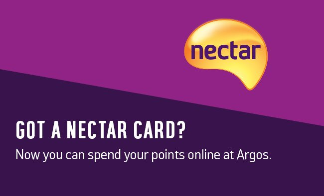 Got a Nectar card? Now you can spend your points online at Argos.