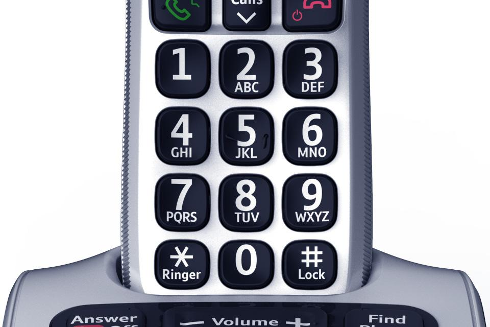 A closeup of a silver BT cordless handset, showing large button size.