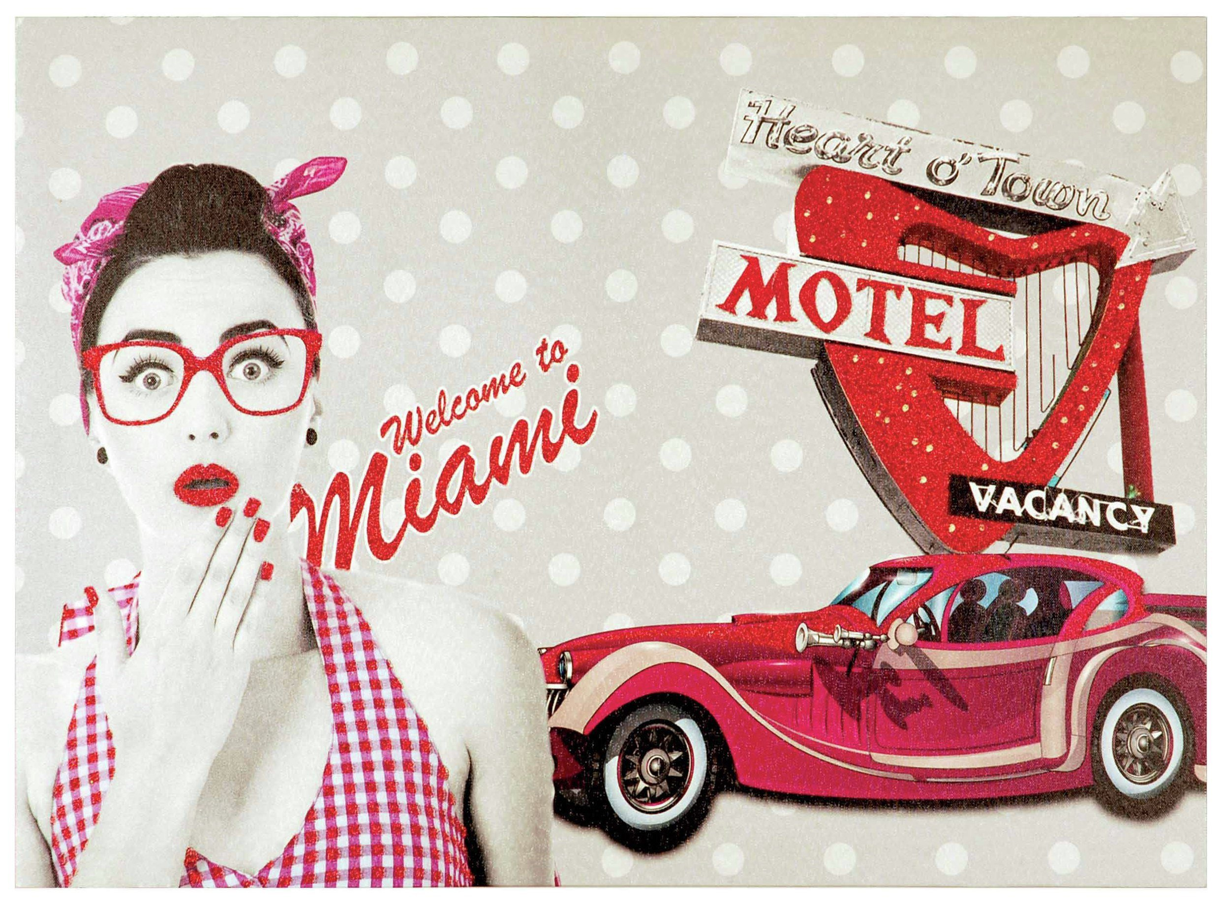 innova-welcome-to-miami-glitter-canvas-wall-art-pink