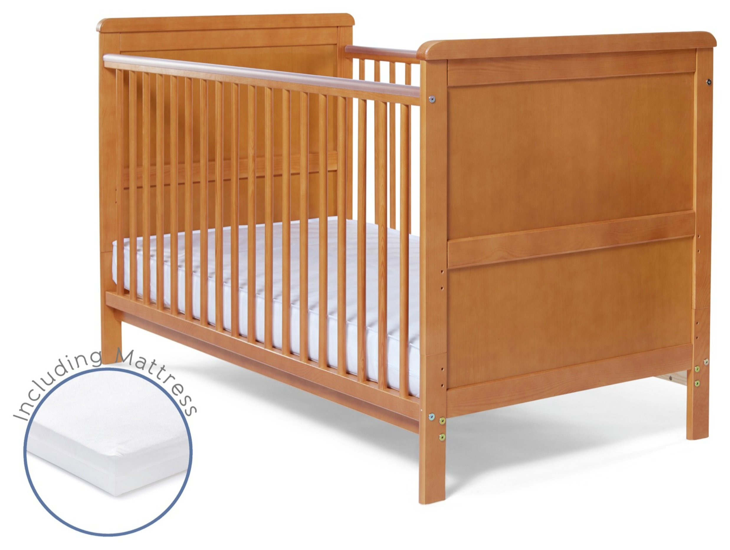 Image of Baby Elegance Alex Cot Bed with Mattress - Pine.
