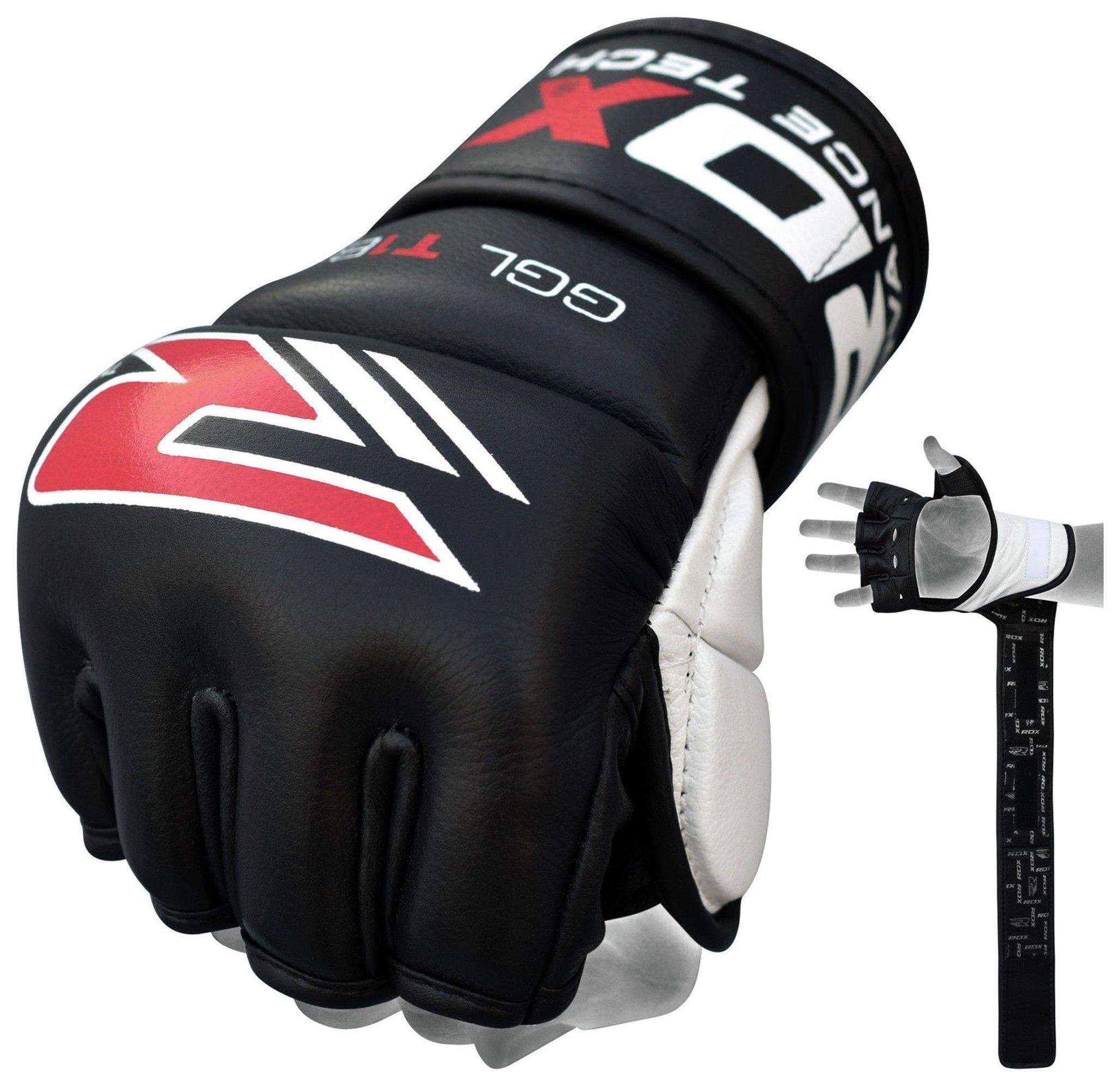 RDX Leather 7oz Mixed Martial Arts Gloves - Black.