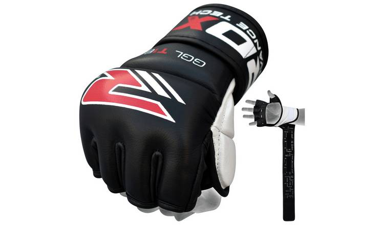 RDX Leather 7oz Mixed Martial Arts Gloves - Black.