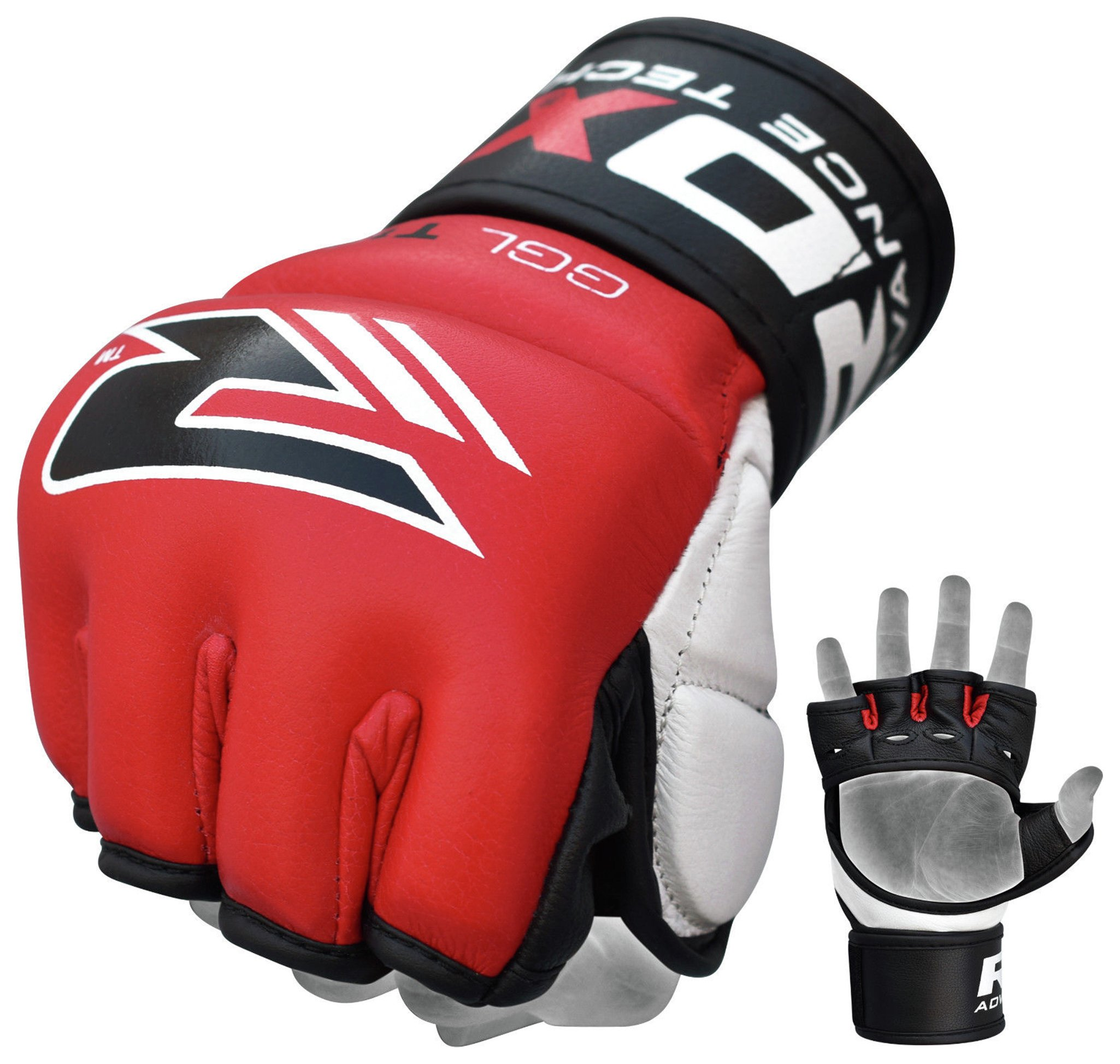 RDX - Leather 7oz Mixed Martial Arts Gloves - Red lowest price