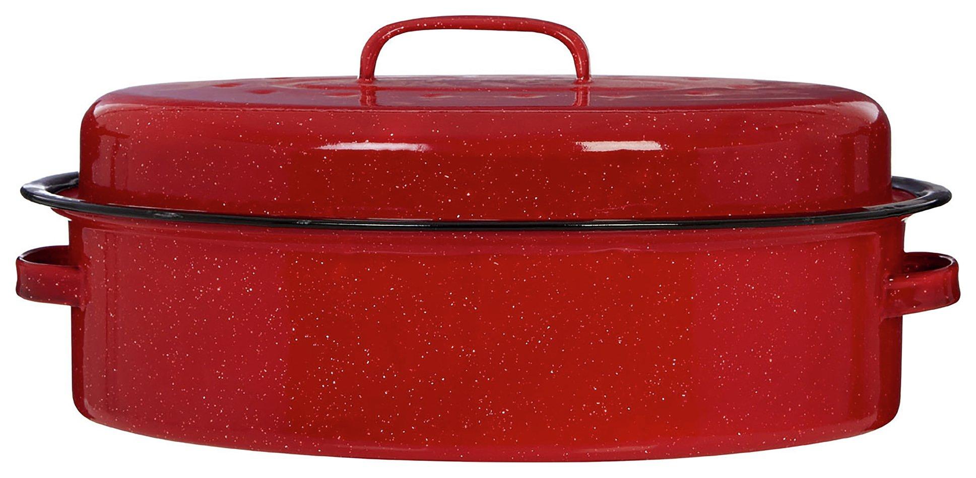 Premier Housewares Enamel Oval Roaster with Lid - Red