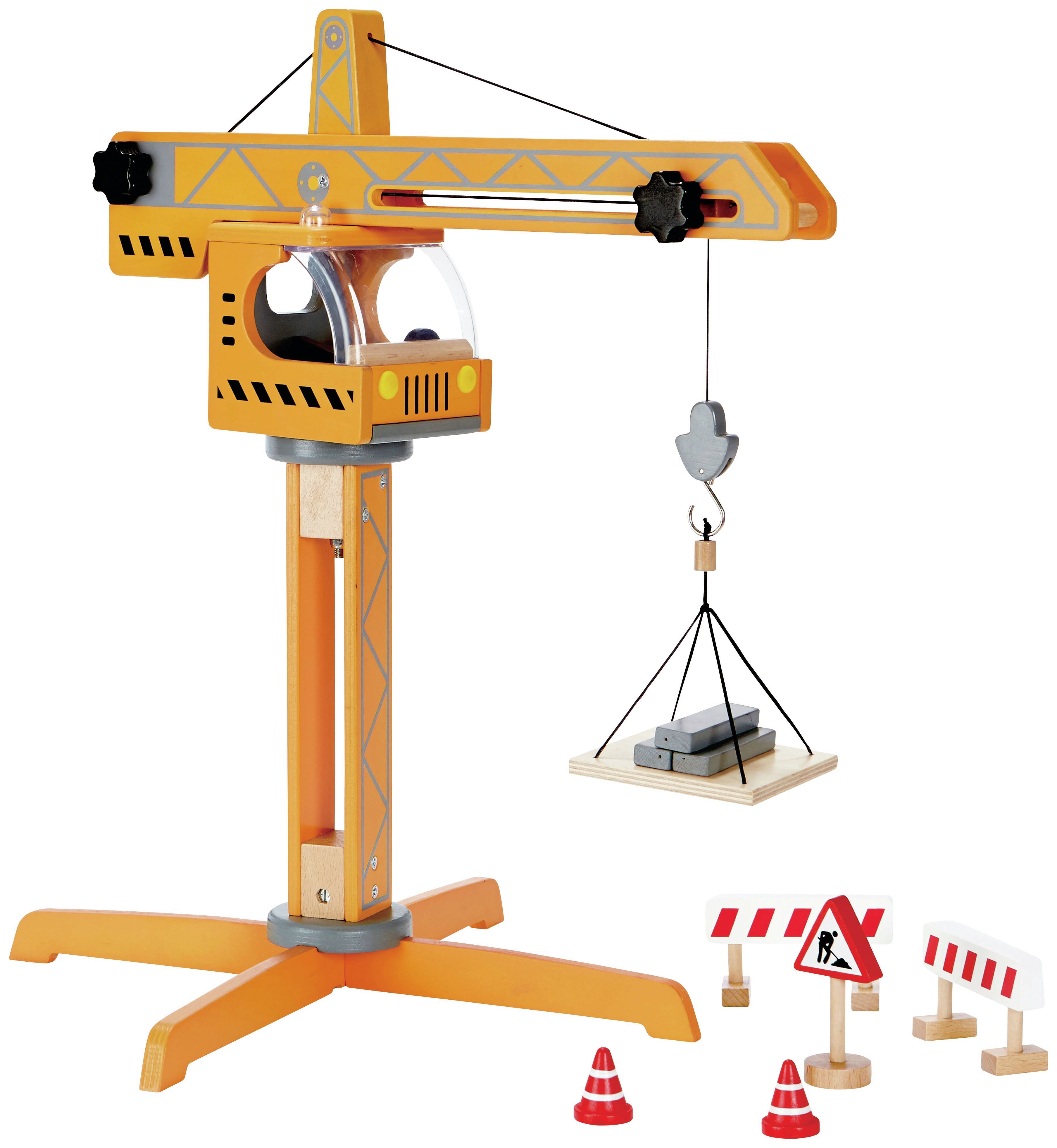 Image of Hape Crane Lift Playset.