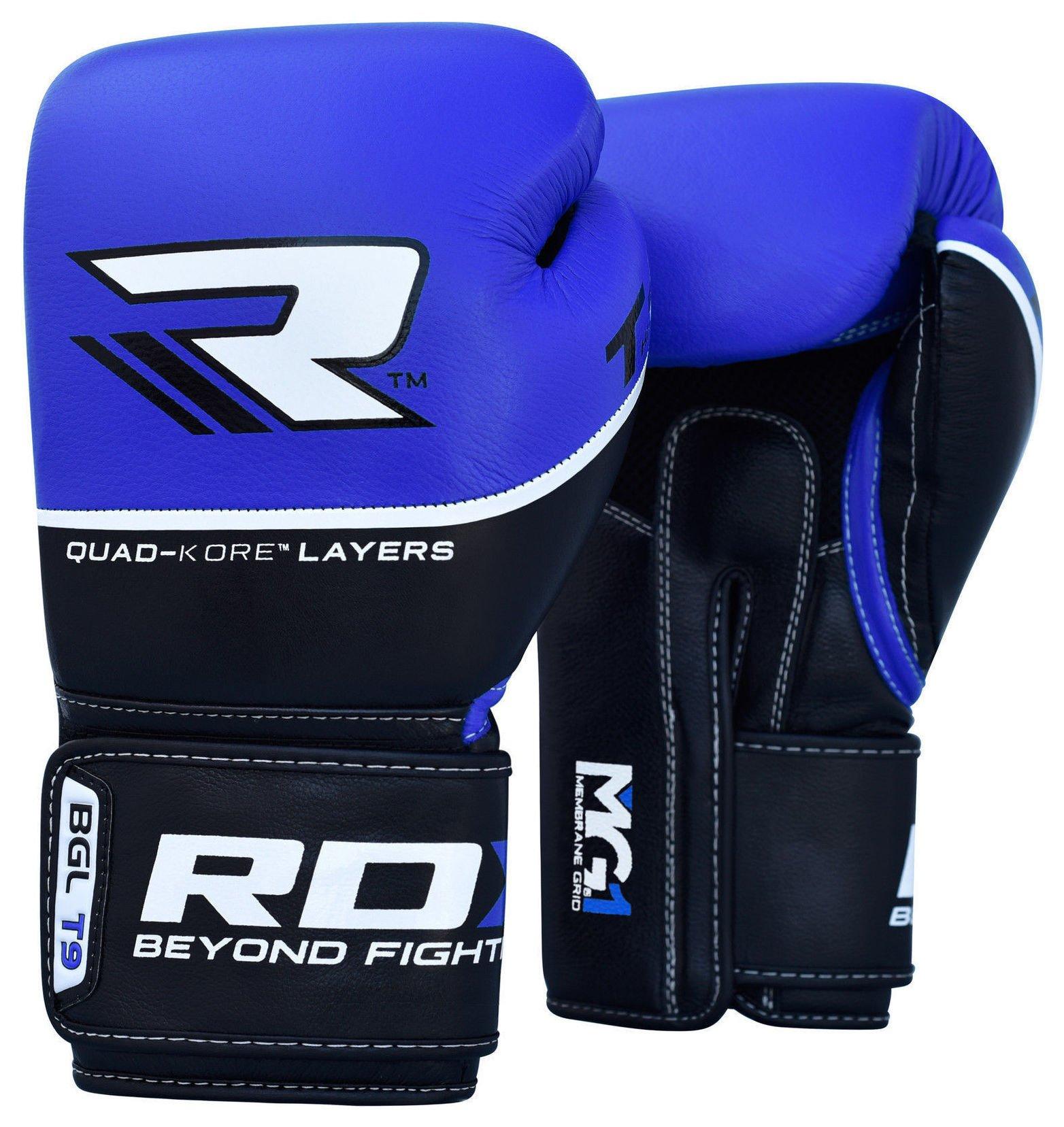 RDX Quad Kore 14oz Boxing Gloves - Blue.