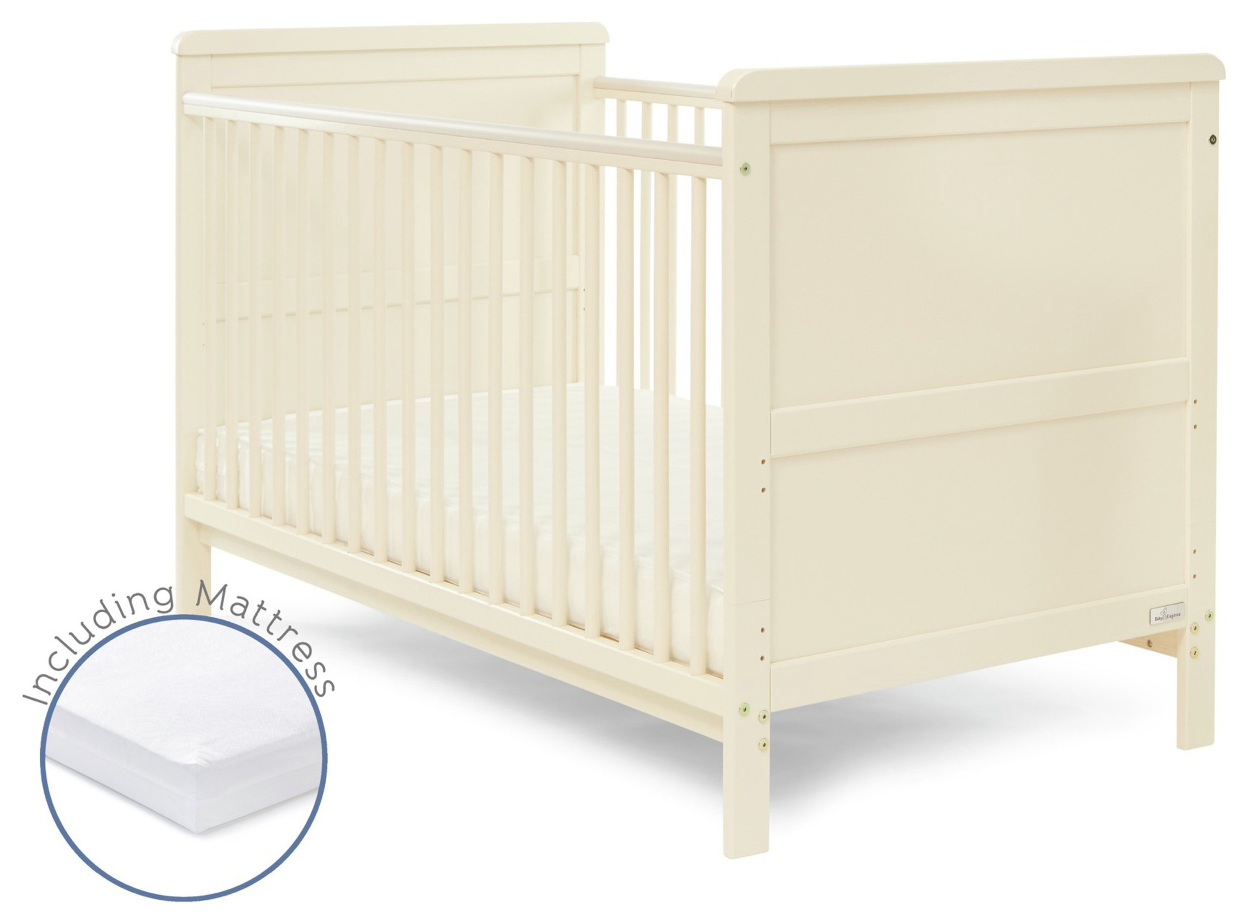 Image of Baby Elegance Alex Cot Bed with Mattress - Cream.