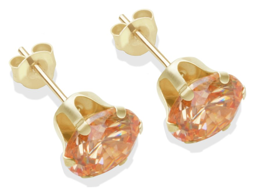 9-carat-gold-7mm-champagne-cubic-zirconia-stud-earrings