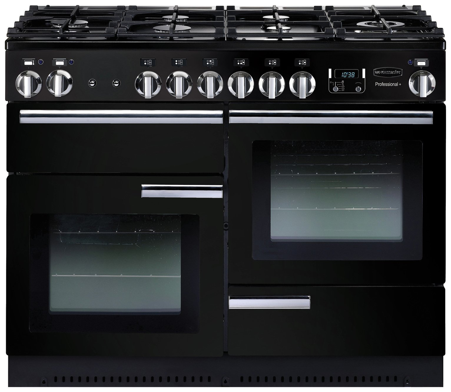 Rangemaster Professional 110 Dual Fuel Range Cooker - Black