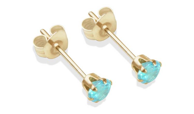 9ct Gold Aqua Coloured Cubic Zirconia Stud Earrings - 3mm