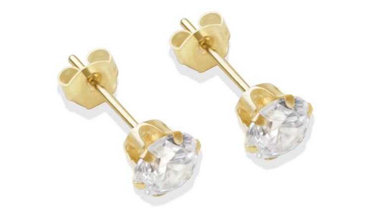 9ct Gold White Cubic Zirconia Stud Earrings - 5mm