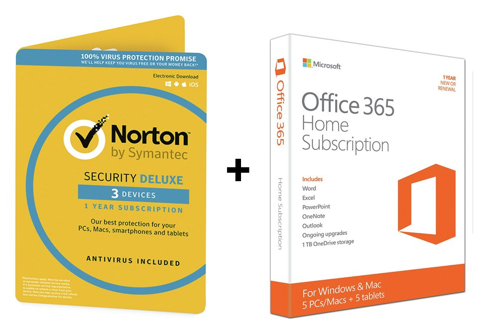 buy microsoft office 365 home and norton security - 3 user at