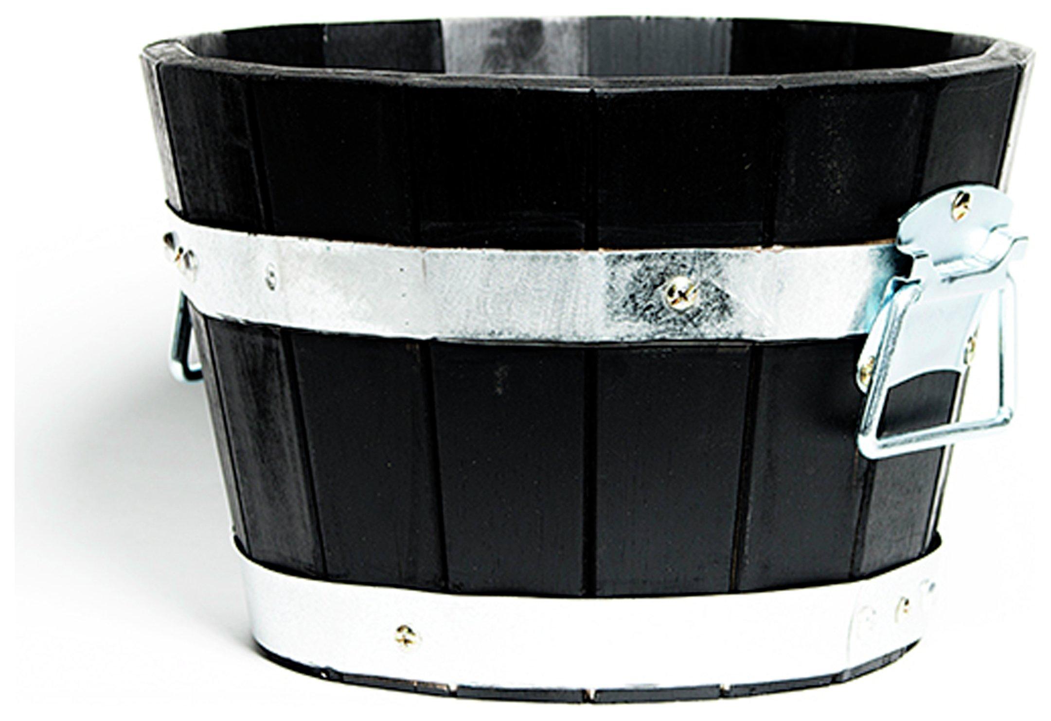 cadix black acacia barrel planter 24cm. Black Bedroom Furniture Sets. Home Design Ideas