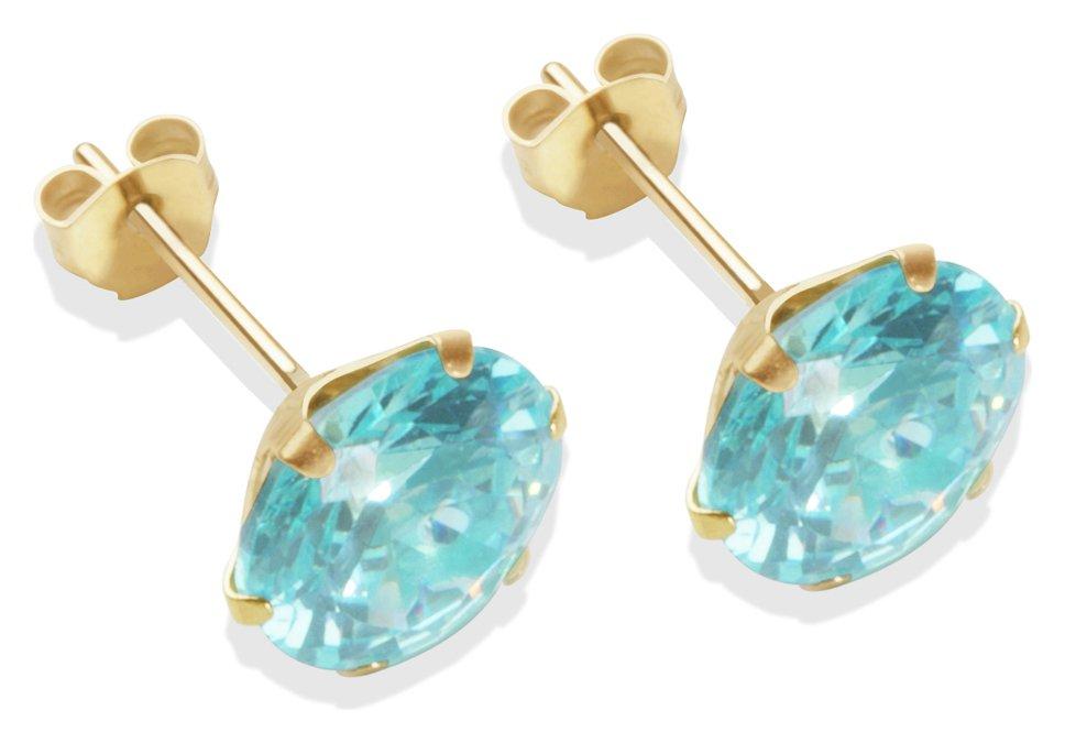 Image of 9 Carat Gold - 8mm Aqua Cubic Zirconia - Stud Earrings.