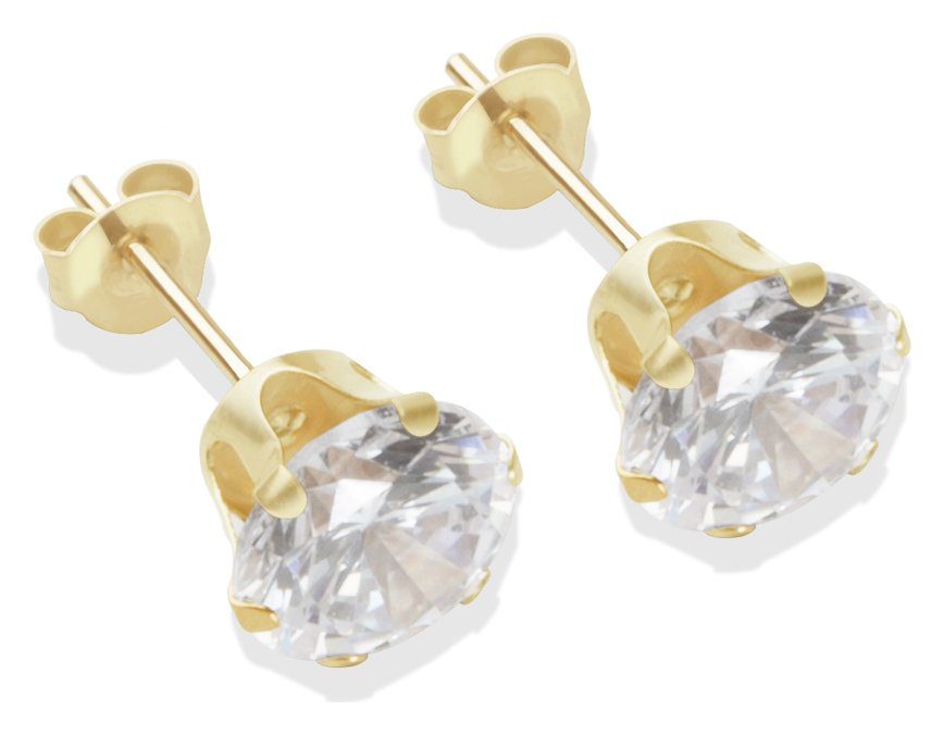 9ct yellow gold 7mm cubic zirconia stud earrings JlwUF3hm