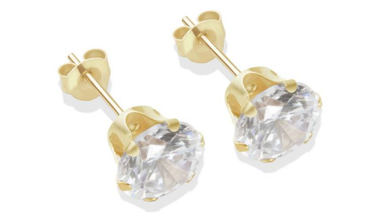 9ct Gold White Cubic Zirconia Stud Earrings - 7mm