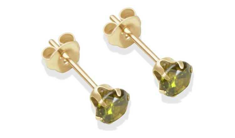 9ct Gold Dark Peridot Coloured CZ Stud Earrings - 4mm