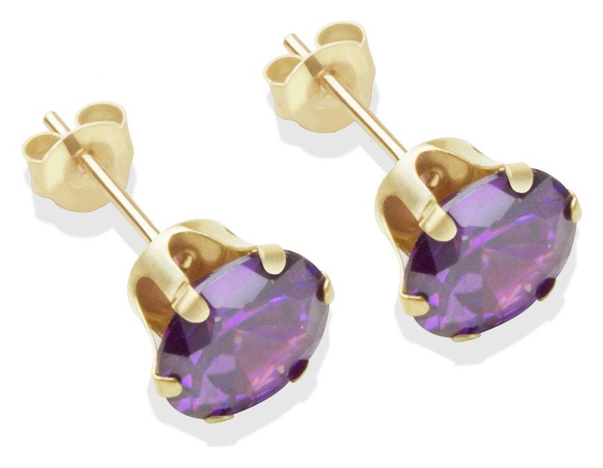 Image of 9 Carat Gold - 7mm Amethyst Cubic Zirconia - Stud Earrings.