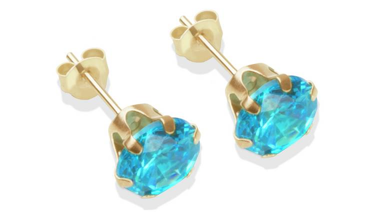 058a3f1aa 9ct Gold London Blue Cubic Zirconia Stud Earrings - 7mm520/3840