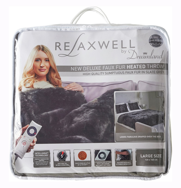 relaxwell by dreamland  intelliheat faux fur heated throw