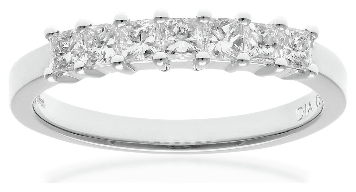 everlasting love 18ct White Gold 0.50ct Diamond Princess Eternity Cut Ring - Size R