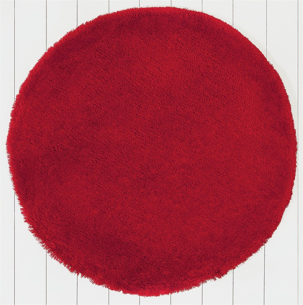 ColourMatch Snuggle Shaggy Circle Rug - 100cm - Poppy Red