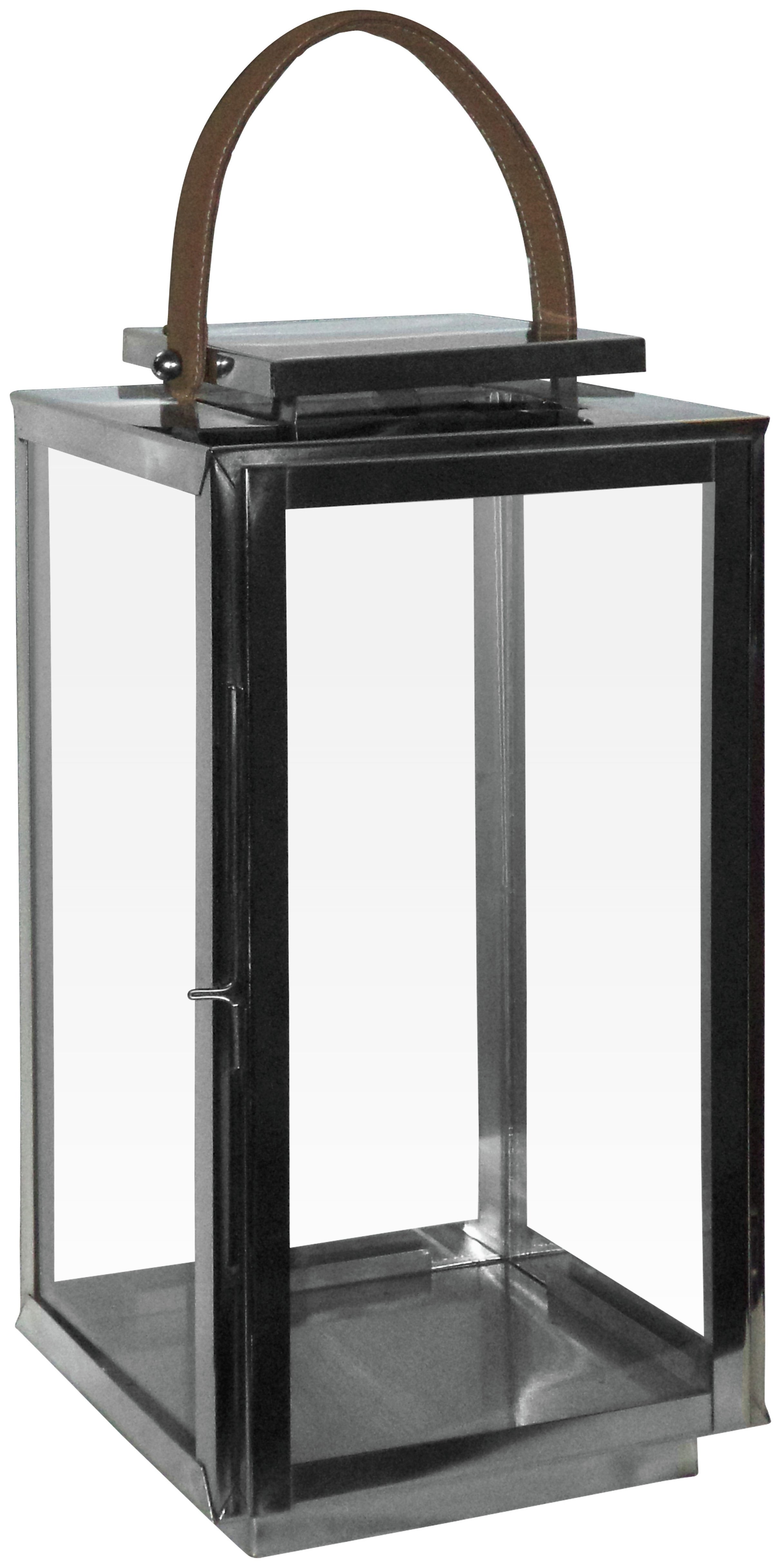 Premier Housewares Leather and Glass Lantern. lowest price