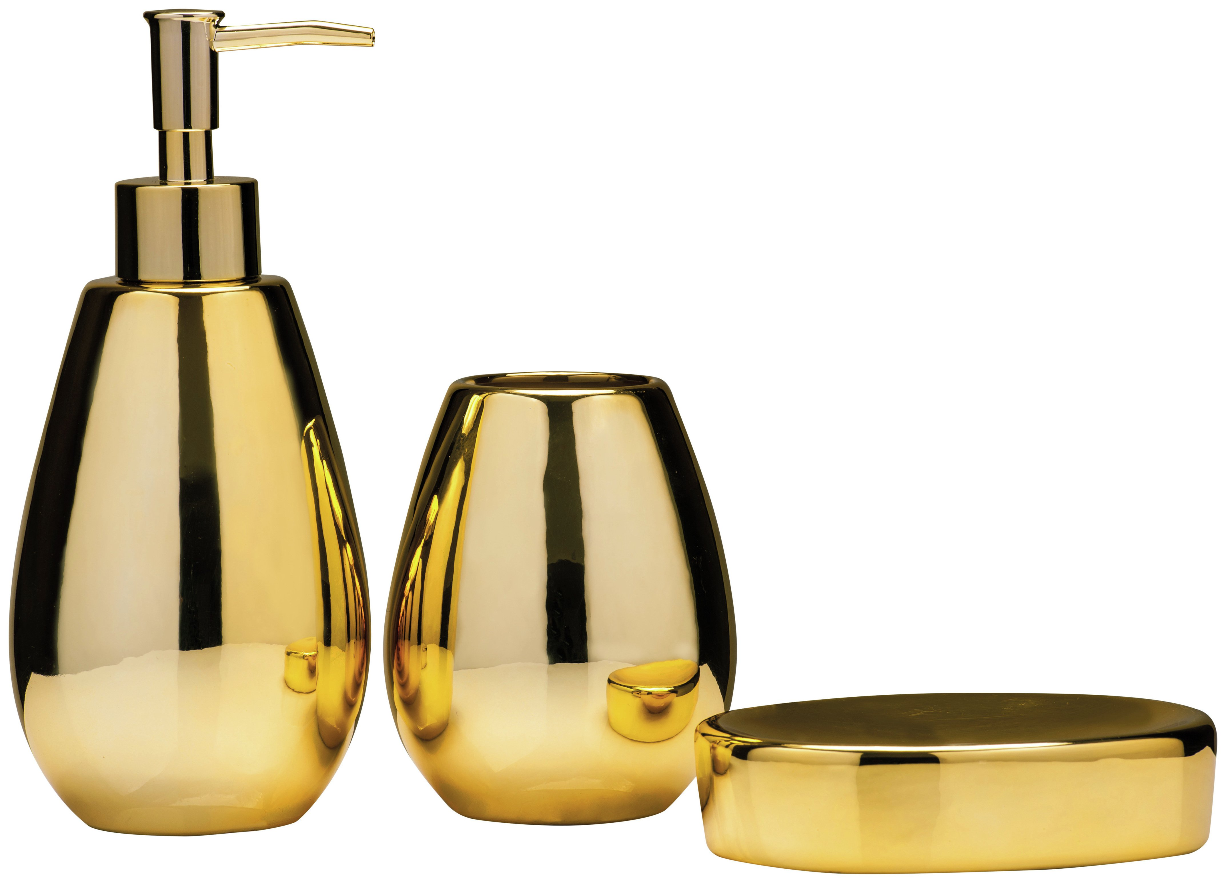 Premier Housewares Magpie 3 Pc Dolomite Bathroom Set - Gold