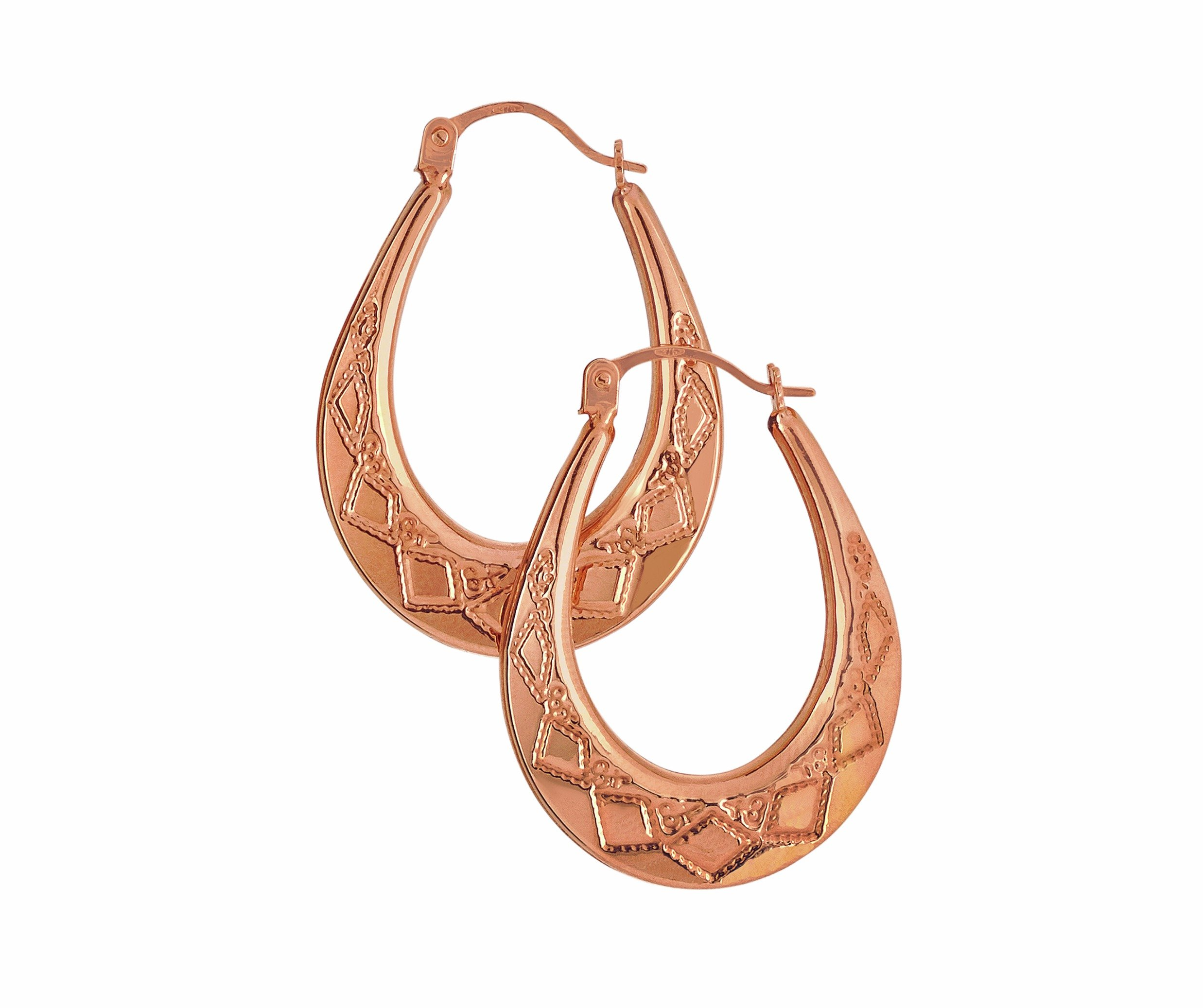 9 Carat Rose Gold - Faceted Oval Creole Earrings.