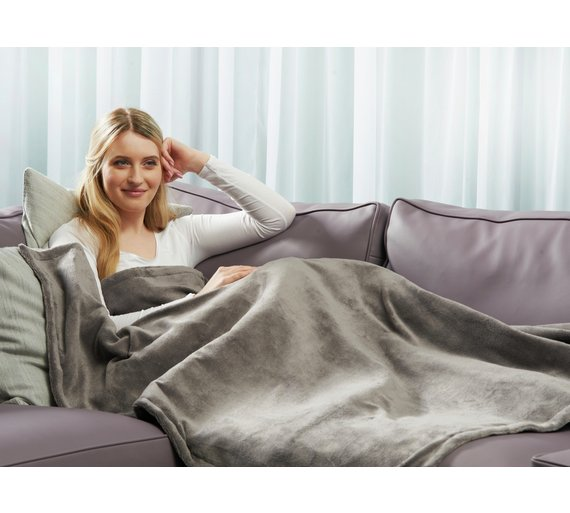 buy relaxwell by dreamland grey heated throw at. Black Bedroom Furniture Sets. Home Design Ideas